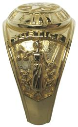 #1586 Texas Law Enforcement ring with Lady Justice on one side.