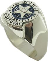 Custom Dallas Police Officer badge ring in sterling silver