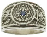 10k white gold Paster Master/SRSJ 32nd/Shrine crescent & scimitar ring with U.S. mined Montana blue sapphire center stone