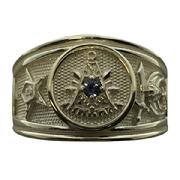 Custom Masonic Past Master/Eastern Star/Shrine crescent & scimitar ring, optional U.S. mined Montana blue sapphire, ring shown in sterling silver