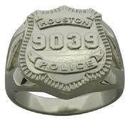 Houston Police Officer badge ring in white gold with a ladies split shank