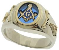 10k white & 14k yellow gold customized 3rd Degree Classic Oval Masonic ring, available with red, blue or black center stone