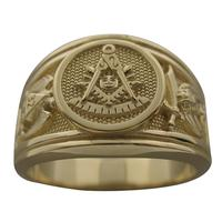 Masonic Past Master ring with Scottish Rite double eagle and Shrine crescent with scimitar