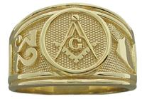 Master Mason ring with 32nd degree and trowel symbols in a solid 14k yellow gold ring with smooth underside and our signature squared-base shank.