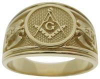 #1629-56, 14k gold Master Mason & SRSJ 32nd degree ring