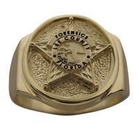 Custom Sheriff's Deputy badge ring in 14k gold