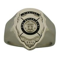Custom Winnipeg Firefighter badge ring in 10k white gold