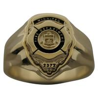 Custom Winnipeg Firefighter badge ring in 10k gold