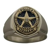 Custom Dallas Police Sergeant badge ring, scaled for a lady's hand, shown in 10k yellow & white gold with optional 0.01 ct. diamond
