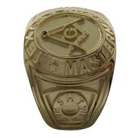Custom collegiate style Masonic ring in 14k yellow gold with York Rite keystone