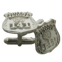 Custom Greenwich CT Police Officer badge cuff links in sterling silver.