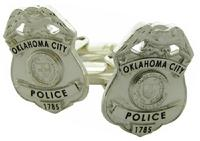 Custom Oklahoma City Police Officer badge cuff links in sterling silver