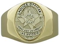 Custom Texas A&M University Police Officer badge ring