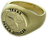 14K YELLOW GOLD TEXAS PEACE OFFICER BADGE RING