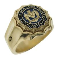 Custom NYPD Lieutenant badge ring in 14k gold