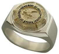 Federal Bureau of Prisons badge top ring in yellow gold and sterling silver