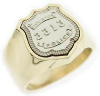 Custom HPD Police Officers badge ring in two tone white and yellow gold