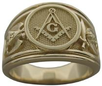 14k yellow gold man's Masonic Thirty Second Degree ring with double eagle Scottish Rite and crescent with scimitar Shrine emblems