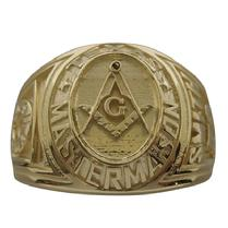 Custom collegiate style Masonic ring in 14k yellow gold
