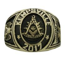 Collegiate style 14k custom Masonic Past Master (VA) ring with deep black antique finish