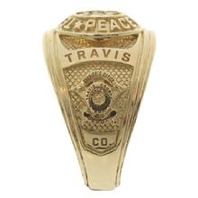 Custom 14k yellow gold Travis County Sheriff's Deputy class ring with TCSO deputy badge in 3D.