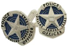 Custom Dallas TX Police Officer badge cuff links in sterling silver.