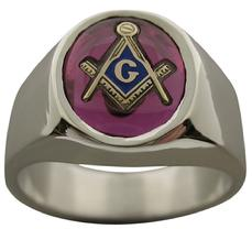 Our #1461-46 smooth sided Masonic ring featuring a 10 x 12 mm oval shaped Masonic stone in red, blue, or black with the square & compass with letter G.  Available in sterling silver or in white or yellow gold.