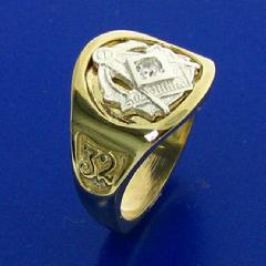 Two tone 14k yellow and white gold 32nd degree Scottish Rite Mason's ring with square and compass and the letter G, 32, and Yod