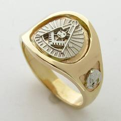14K YELLOW GOLD 32ND DEGREE MASONIC PAST MASTER RING WITH 14K WHITE GOLD PAST MASTER EMBLEM AND SHRINE CRESCENT WITH SCIMITAR