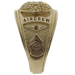 United States Marine Corps 14k ring with Aircrew flight wings and master sergeant chevron in 3D raised detail.