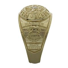 Custom Pasadena Arson Police Chief class style ring, 14k, optional 0.08 ct. diamond