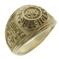 Custom Bucks County, Pennsylvania FOP Past President's ring shown in 10k yellow gold.