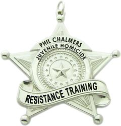Custom Juvenile Homicide Resistance Training pendant in sterling silver with black enamel.