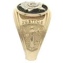 Custom Chicago Police Officer badge ring with black enamel background and side panels.