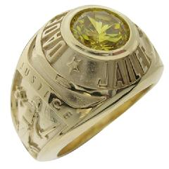 Custom Dade County (FL) Sheriff's Jailer badge ring in 10k yellow gold with a yellow CZ center stone.