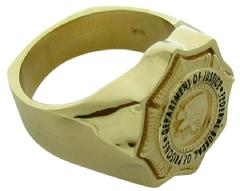 Custom US Department of Justice Bureau of Prisons badge ring