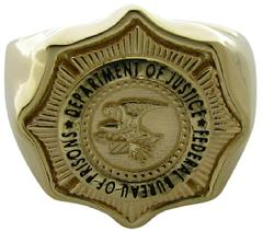 Custom US DOJ BOP badge ring