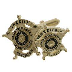 Custom Montgomery County TX Sheriff's badge cuff links in 10k yellow gold.