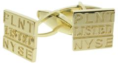 Custom Planet Fitness NYSE 18k yellow gold cuff links.
