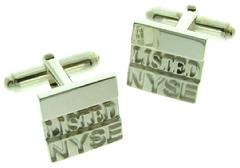 Custom NYSE cuff link pair in sterling silver