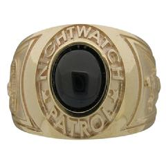 Custom Nightwatch Patrol ring in 10k yellow gold with deep blue cabochon cut center stone.