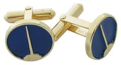 Custom Wordsearch logo cuff links in 14k yellow gold with blue enamel background.