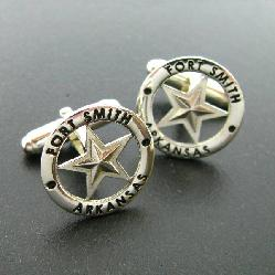 FORT SMITH, ARKANSAS LOGO IN STERLING SILVER FINE JEWELRY CUFF LINKS