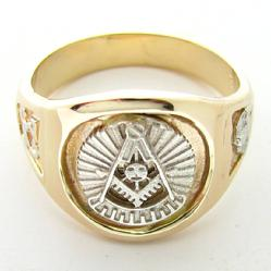 14K YELLOW GOLD 32ND DEGREE MASONIC PAST MASTER RING WITH WHITE GOLD PAST MASTER EMBLEM AND SHRINE CRESCENT WITH SCIMITAR