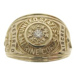 United States Marine Corp ring in 14k yellow gold and diamond