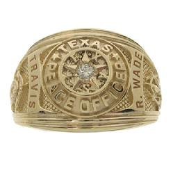 Custom Travis County Sheriff's Deputy class ring in 14k yellow gold