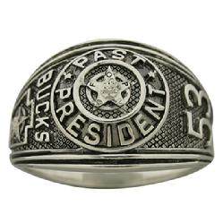 Custom Bucks County, Pennsylvania FOP Past President's ring shown in sterling silver with antiqued background.
