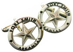 Fort Smith, AR 5-point star cuff links in sterling silver with black enamel.