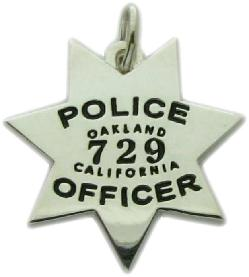 Custom police and fire fine jewelry 3d badge pendants custom 3d sterling silver oakland police officer mini badge pendant or charm aloadofball Images