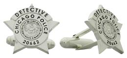 Custom Chicago Police badge cuff links in sterling silver.
